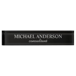 Placa De Nombre Blanco y negro clásico profesional