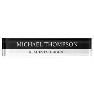 Placa De Nombre Blanco y negro elegante profesional