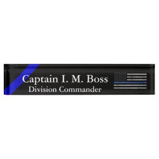 Placa De Nombre Blue Line fino - bandera hecha andrajos apenada
