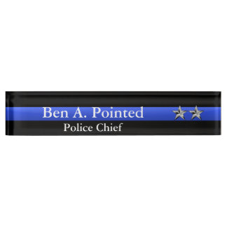 Placa De Nombre Blue Line fino - fila de las estrellas del jefe