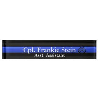 Placa De Nombre Blue Line fino - Stripes corporal Rank