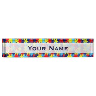 Placa De Nombre Conciencia-Rompecabezas del autismo de Shirley