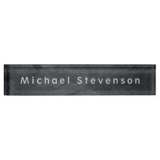 Placa De Nombre Diseño minimalista moderno elegante gris único