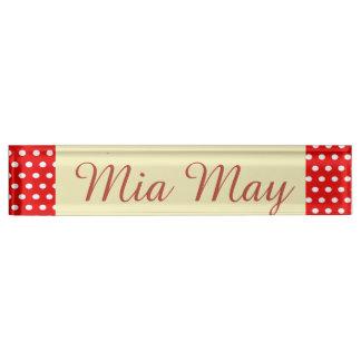 Placa De Nombre Divertido, personalizado, puntos, rojo y blanco