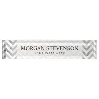 Placa De Nombre El zigzag elegante de la hoja de plata raya el