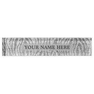 Placa De Nombre Encanto blanco de plata gris del estampado de