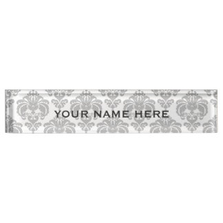 Placa De Nombre Encanto elegante del damasco del gris de plata