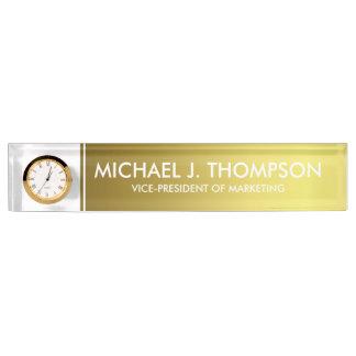 Placa De Nombre Hoja de oro elegante moderna con monograma