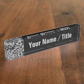 """Placa De Nombre """"Leopardo negro y gris """""""