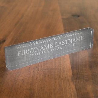 Placa De Nombre Lino gris - nombre básico y título profesional