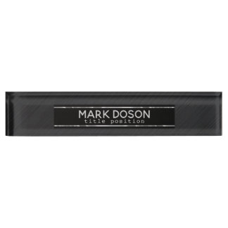 Placa De Nombre Metal gris oscuro cepillado