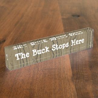 Placa De Nombre Muestra del escritorio de la diversión que el dóla
