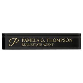 Placa De Nombre Negro elegante profesional y oro