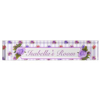 Placa De Nombre Nombre subió vintage púrpura personalizado del