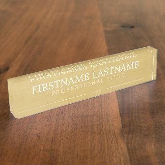 Placa De Nombre Oro cepillado - nombre básico y título profesional