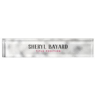 Placa De Nombre Vidrio de tierra blanco y gris con monograma