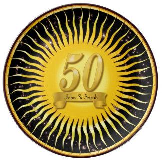 Placa de oro de la porcelana del aniversario de plato de porcelana