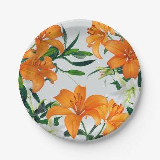 """Placa de papel 7"""" de los lirios florales plato de papel"""