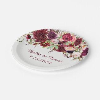 Placa de papel Borgoña del boda floral rojo de Plato De Papel