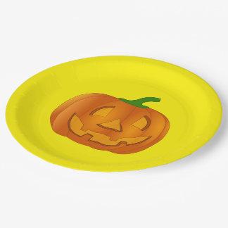 Placa de papel con la calabaza plato de papel