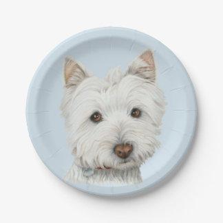Placa de papel de arte del perro de Westie Plato De Papel