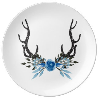 Placa de papel de la asta de los ciervos plato de porcelana