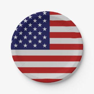 Placa de papel de la bandera americana plato de papel
