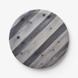 Placa de papel de la cerca de madera gris plato de papel