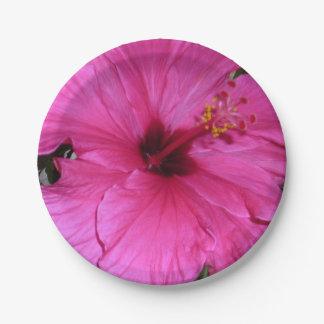 Placa de papel de la flor rosada plato de papel