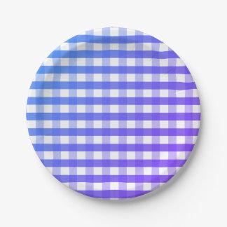 Placa de papel de la guinga blanca púrpura azul plato de papel