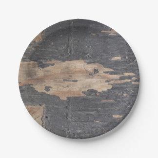 Placa de papel de madera del gris ahumado plato de papel