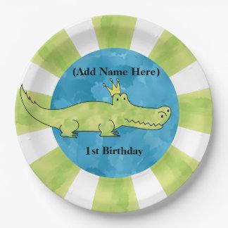 Placa de papel del 1r cumpleaños del cocodrilo plato de papel