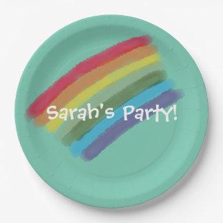Placa de papel del arco iris 9 pulgadas - plato de papel