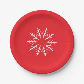 Placa de papel del copo de nieve plato de papel