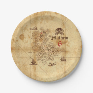 Placa de papel del cumpleaños del mapa del tesoro plato de papel