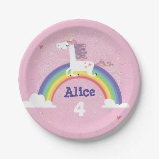 Placa de papel del cumpleaños del unicornio del plato de papel