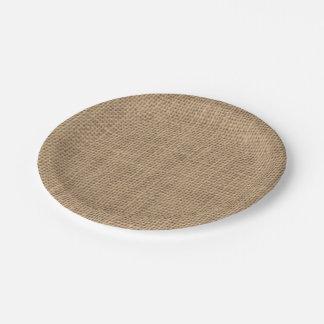 Placa de papel del efecto rústico de la arpillera plato de papel