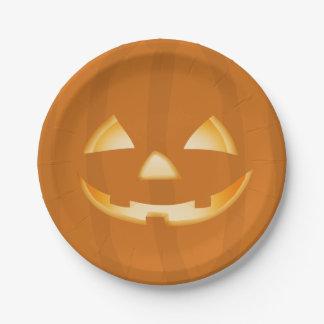 Placa de papel del fiesta de Halloween de la cara Plato De Papel