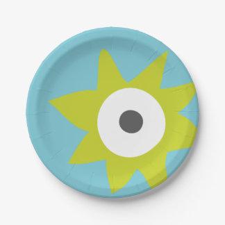 Placa de papel del fiesta de punta verde del plato de papel