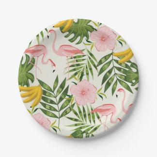 Placa de papel del flamenco tropical del verano plato de papel