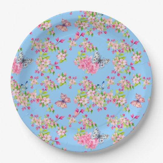 Placa de papel del jard n azul y rosado de la plato de for Jardin azul canal 9