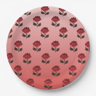 Placa de papel del modelo color de rosa plato de papel