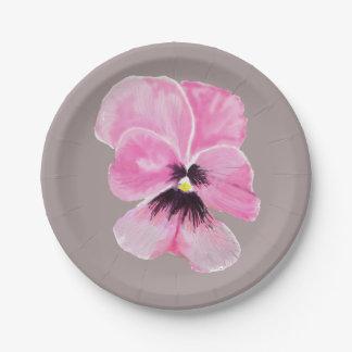 Placa de papel del pensamiento rosado plato de papel