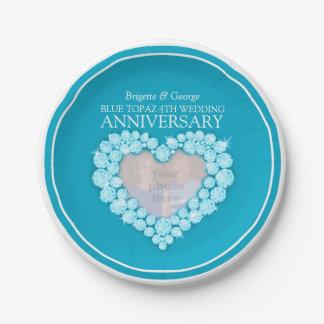 Placa de papel del topaz del 4to del aniversario plato de papel