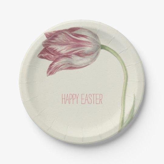 Placa de papel feliz del tulipán el | del rosa del plato de papel
