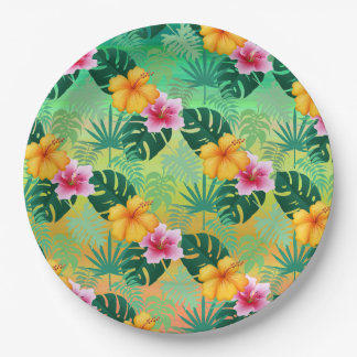 Placa de papel floral tropical plato de papel