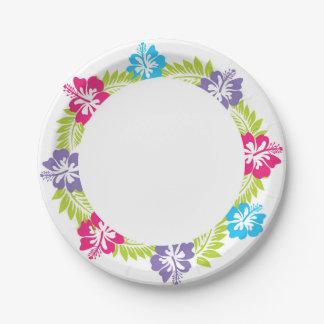 Placa de papel hawaiana plato de papel