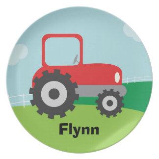Placa de tractor - personalizada para el niño plato