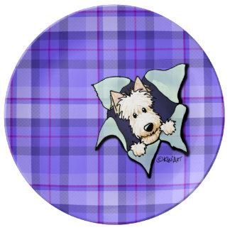 Placa de trigo de la porcelana del perro del escoc platos de cerámica