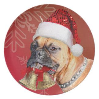 Placa decorativa del perro del boxeador del navida plato de comida